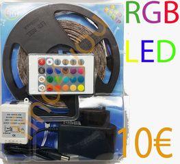 LED STRIP RGB Με Τηλεχειριστήριο  Μήκος 5M μόνο 10€