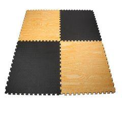 Επαγγελματικό Δάπεδο Ασφαλείας EVA, 100 x 100 πάχους 2.5 εκ. Puzzle (Μαύρο/Ξύλο) Viking