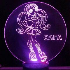 Plexi LED Φωτιστικό Χαραγμένο Plexiglass Με Σχέδιο Κορίτσι Με Διακόπτη ON/OFF AlphaLed - Πράσινο - A40-girlGR