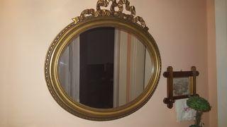 Επίχρυσος οβάλ καθρέφτης αντίκα