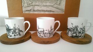 6x Ποτήρια Καφέ Ελληνικού / Espresso Πορσελάνη STUDIO WIEN BELVEDERE + τα πιατάκια τους Φλυτζάνια