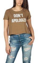 LTB Warele γυναικείο crop t-shirt Don't apologize καφέ - 80151-6143