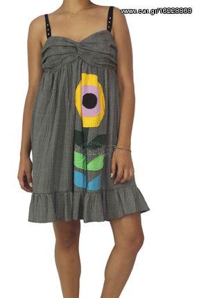 Fabric Art φόρεμα με τιράντες και απλικέ λουλούδι - pl-103
