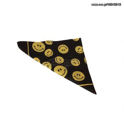 Μπαντάνα μαύρη με κίτρινο smile πριντ - 13297-smblk