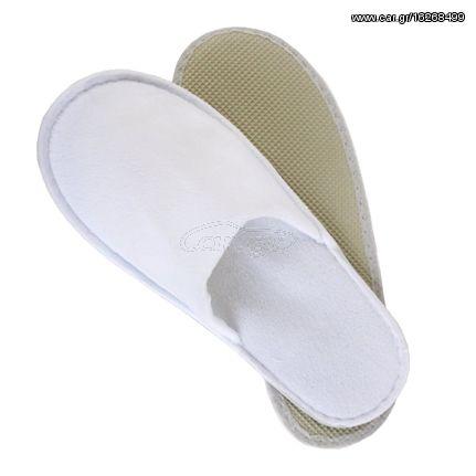 Προσεγμένες λευκές παντόφλες μιας χρήσης πετσετέ με σόλα 4mm | AM-501B