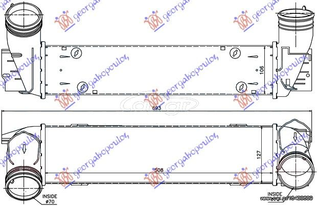 Ψυγείο Intercooler BMW 3 Series ( E90 )  Sedan / 4dr 2008 - 2013 ( E90/1/2/3 F/L ) 335 d  ( M57 D30 (306D5)  ) (286 hp ) Πετρέλαιο #154006220