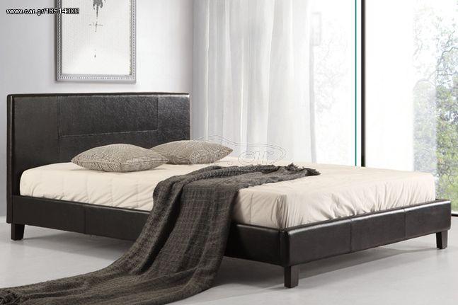 Κρεβάτι διπλό 150Χ200 εκ. με επένδυση δερματίνης και ανατομικές τάβλες - KESKOR 713-150
