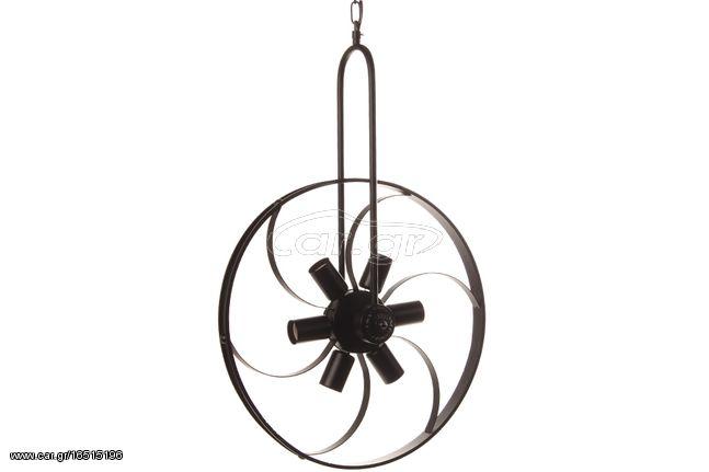 Φωτιστικό κρεμαστό μεταλλικό Vintage 6 Χ Ε27 Φ45Χ66 εκ. χρ. Μαύρο - KESKOR 5277/6