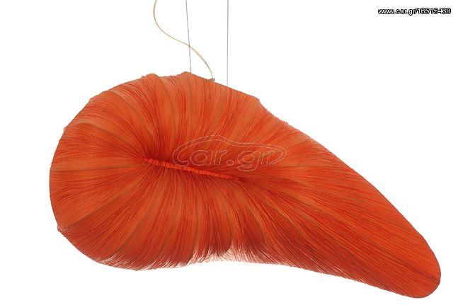 Φωτιστικό κρεμαστό 2 Χ E27 80Χ30Χ35 εκ. γκοφρέ ύφασμα πορτοκαλί – KESKOR 11065-02