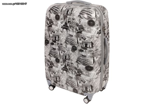 Βαλίτσα - τρόλεϊ πλαστική 49Χ29Χ76 εκ. με 4 διπλές ρόδες σχ. WORLD GREY - KESKOR 629001-3