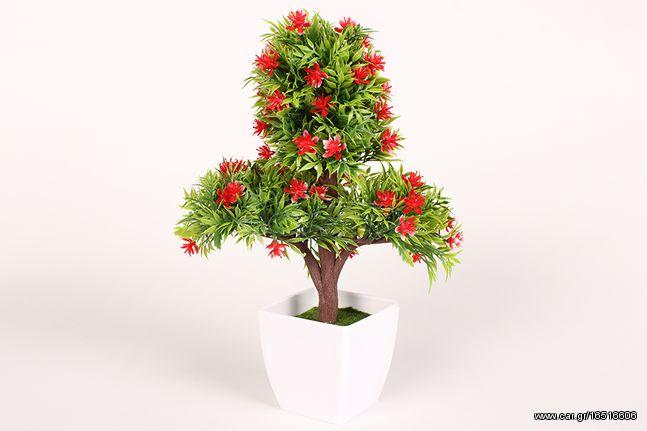 Γλαστράκι πλαστικό Μπονζάι 21Χ11Χ30 εκ. με άνθη χρ. κόκκινο