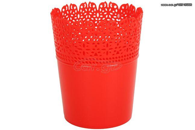 Κασπώ - Γλαστράκι πλαστικό Φ12Χ15 εκ. σχ. Δαντέλα χρ. κόκκινο