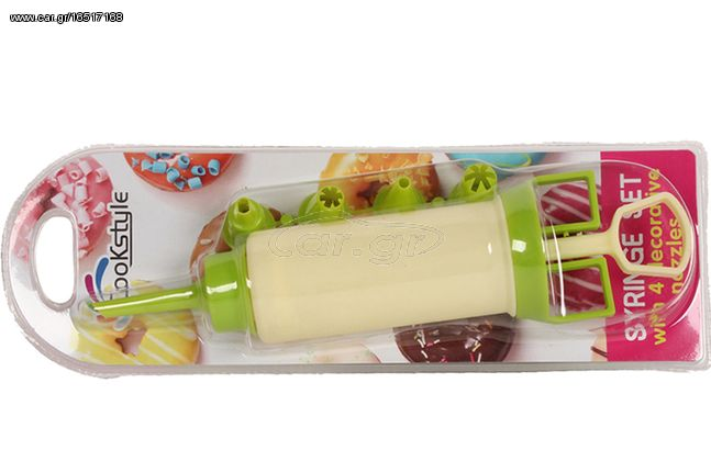 Κορνέ ζαχαροπλαστικής πλαστικό με 5 εξαρτήματα Φ5,5Χ22,5 εκ. χρ. πράσινο
