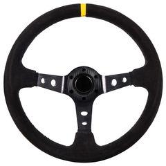 Τιμόνι Αυτοκινήτου Βαθύ Suede 35cm Μαύρο-Κίτρινο www.eautoshop.gr