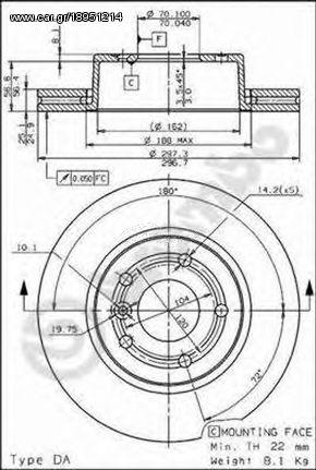 Brembo 09 6839 10  Δισκοι Φρενων R-ROVER-4-0-Ω8-94-02