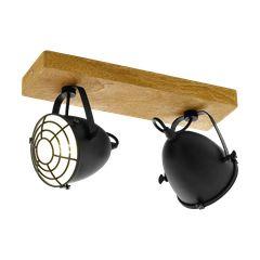Σποτ δίφωτο με χρώμα φυσικού ξύλου και μαύρο EGLO GATEBECK 49077