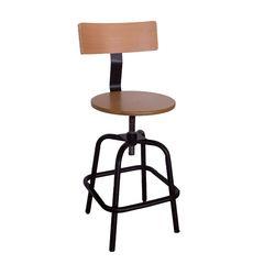 KANSAS WB  Μεταλλικό σκαμπό με βίδα και ξυλινο καθισμα  -40X45X85/115 cm