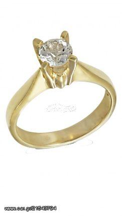 Ortaxidis Δαχτυλίδι Χρυσό Με Λευκό Ζιργκόν Swarovski D009