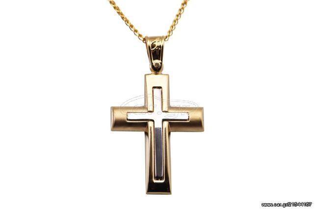 Ortaxidis Σταυρός Ανδρικός Χρυσός 14 Καράτια oro348