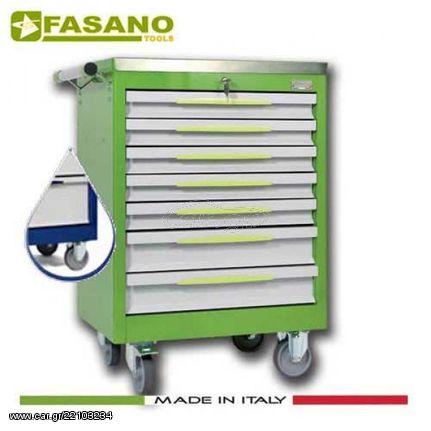 Εργαλειοφόρος 7 συρταριών με ανοξείδωτη επιφάνεια μπλέ FG 102B/7A FASANO Tools