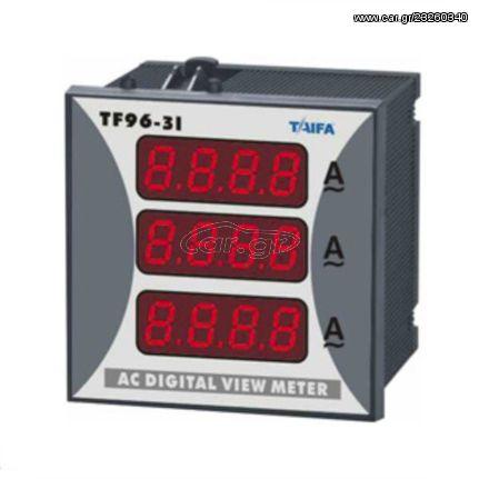 Αμπερόμετρο 3Φ 1-10000Α TAIFA DP3-96-3I για λειτουργία μέσω αντίστοιχων μετασχηματιστών έντασης | 501-969910300