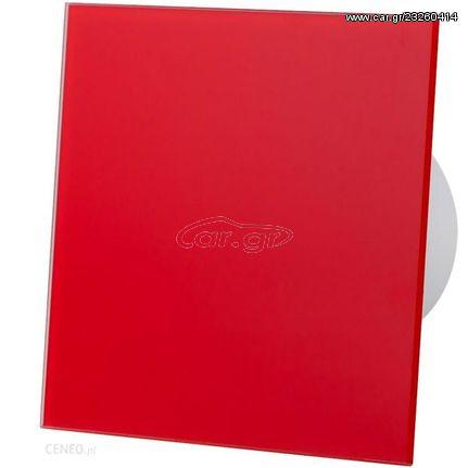 Εξαεριστήρας μπάνιου AirRoxy ΗS με αισθητήρα υγρασίας 8W Ø100 93m³/h 28db με κόκκινη γυάλινη πρόσοψη   101-01-064/173