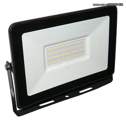 Προβολέας led slim ισχύος 100W 230VAC 3000K θερμό λευκό φως με smd στεγανός IP65 8000lm | FL-T-00063