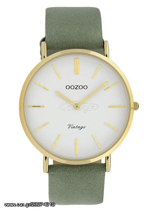 OOZOO Vintage Ρολόι Γυναικείο Πράσινο Δερμάτινο Λουράκι C9966