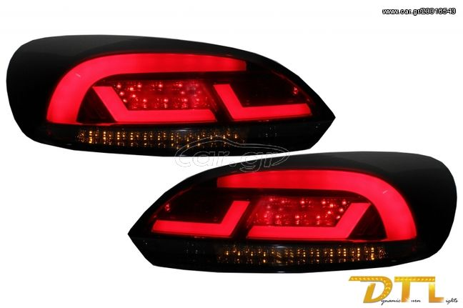 LITEC Lightbar LED Taillights suitable for VW SCIROCCO MK3 III (2008-2013) Red/Smoke with Dynamic Sequential Turning Light