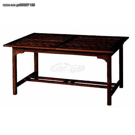 JK 9800172   Τραπέζι τραπεζαριας επεκτεινόμενο  από ξύλο keruing.  Διάστασή: 160-220Χ100X75 cm