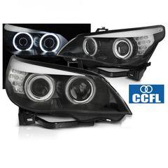 """Μπροστινά Φανάρια CCFL Angel Eyes Black Για BMW Σειράς 5 E60/E61 2003-2007 """" T-Tec """""""