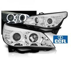 """Μπροστινά Φανάρια CCFL Angel Eyes Chrome Για BMW Σειράς 5 E60 / E61 2003-2007 """" T-Tec """""""