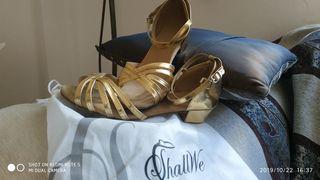 Παπούτσια Latin πλεκτό δέσιμο με 4 cm τακούνι