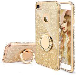 Diamond Ring Case με Electro Bumper και Glitter - Gold (iPhone 6 / 6s)