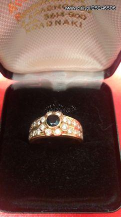 Δακτυλίδι με διαμάντια και ζαφείρι