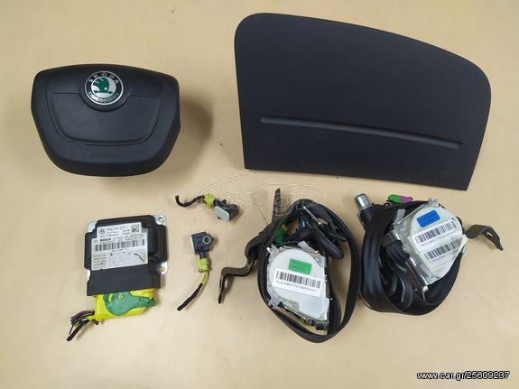 Σετ αερόσακοι οδηγού- συνοδηγού-ζώνες -εγκεφαλάκι από Skoda Fabia 5J / Skoda Roomster 2010-2014