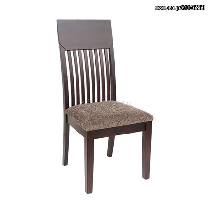 Καρέκλα τραπεζαρίας με ξύλινο σκελετό σε χρώμα καρυδί και κάθισμα από ύφασμα σειρά Norma | 03.0011