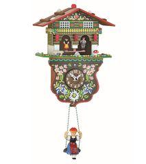 Ρολόι Kuckulino με αναπαράσταση σπιτιού με 2 φιγούρες στο μετεωρολογικό σταθμό & εκκρεμές. Κωδ: 2026SQ --- www.CuckooClock.gr ---