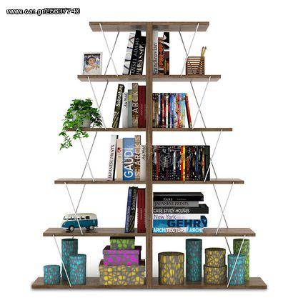"""Βιβλιοθήκη """"MINI TARS"""" σε χρώμα καρυδί με λεπτομέρειες χρωμίου 130x22x146"""