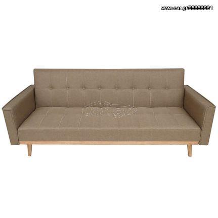 Καναπές κρεβάτι τριθέσιος σειρά Minerva με απαλό ύφασμα σε μοντέρνο καφέ χρώμα και διαχρονικό design | 40.0065