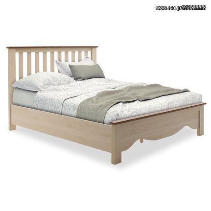 Κρεβάτι διπλό Loran pakoworld χρώμα light oak-καρυδί 160x200εκ 044-000012