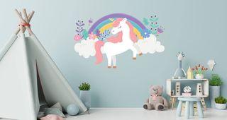 Παιδικό αυτοκόλλητο τοίχου - μονόκερος με ροζ μαλλιά Μεγάλο