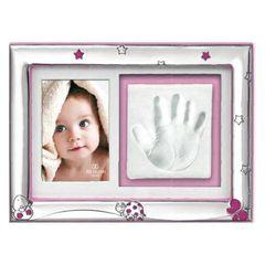 Κορνίζα  babyQ από ασήμι   σε ροζ χρώμα με Σμάλτο 436675