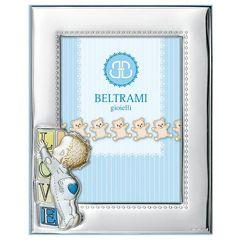 Κορνίζα μωράκι babyQ από ασήμι   σε σιέλ χρώμα με Σμάλτο 437056