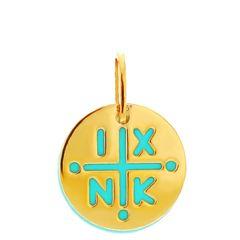Μενταγιόν Κωνσταντινάτο babyQ από χρυσό Κ14 (585)  σε κίτρινο χρώμα με Τουρκουάζ 400381