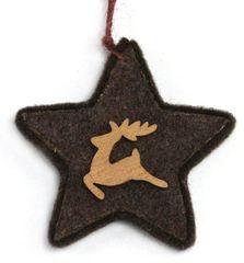 Χριστουγεννιάτικo Κρεμαστό Αστέρι, με Ξύλινο Τάρανδο (10cm)