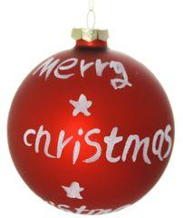 """Χριστουγεννιάτικη Γυάλινη Κόκκινη Μπάλα """"Merry Christmas"""", Ματ (10cm)"""
