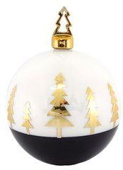Χριστουγεννιάτικη Πορσελάνινη Μπάλα Χειροποίητη Λευκή με Χρυσά Δεντράκια (10cm)