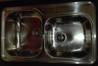 Νεροχύτης κουζίνας PYRAMIS 80X48, 2 γούρνες-ανοξείδωτος λείος