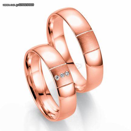 Ροζ Χρυσή Βέρα Γάμου Breuning με ή χωρίς Πέτρες WR331R xoris_petra k8